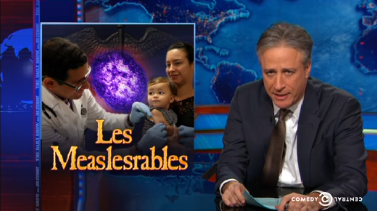 "Jon Stewart blames Measles outbreak on ""science-denying affluent California Liberals"""