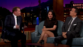 "Mila Kunis shares some news on the premeire of ""The Late Late Show With James Corden"""